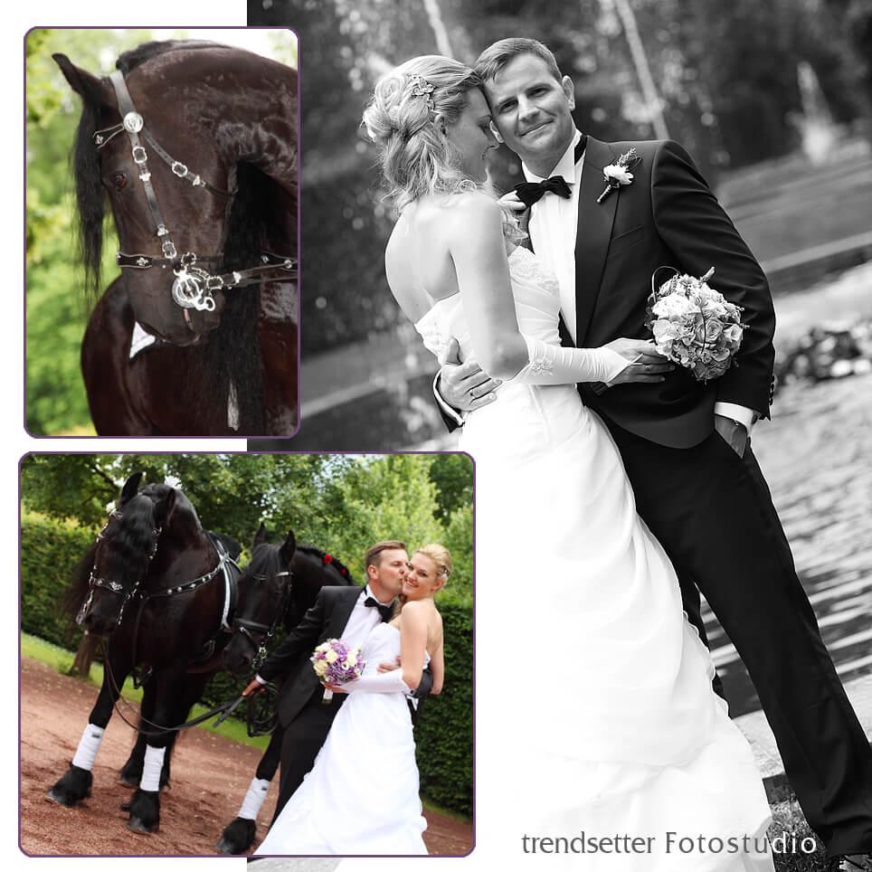Eine Hochzeit im Schloss Lichtenwalde mit Pferden ist immer wieder ein Erlebnis, auch für unsere Hochzeits-Fotografen