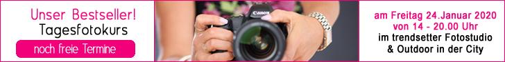 Unser Bestseller ist der Tagesfotokurs im trendsetter Studio. Lerne deine Kamera und deren manuelle Bedienung. Entdecke deine Möglichkeiten.