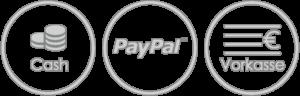 Unsere Bezahlmöglichkeiten, bar, Paypal oder per Überwweisung/Vorkasse